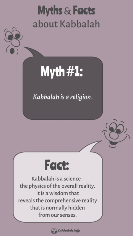 Kabbalah Myths & Facts #1: Myth - Kabbalah Is a Religion. Fact: Kabbalah Is a Science